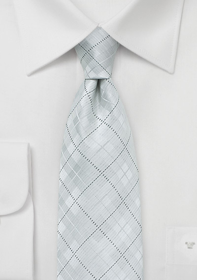 Formal White Tie in Plaid Design