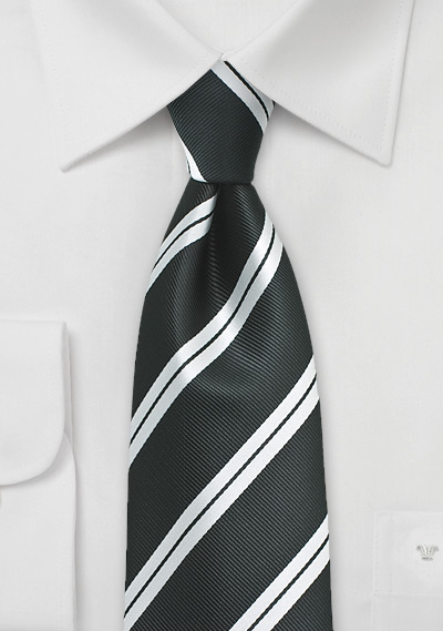 Matte Black Tie With Shiny Silver Stripes Bows N Ties