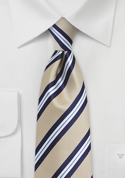 Golden Tan and Navy Striped Tie