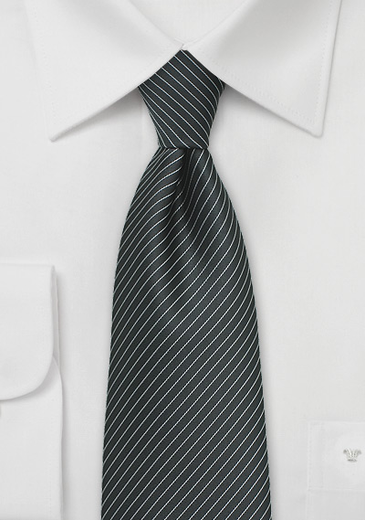 Dark Charcoal Colored Necktie with Silver Pencil Stripes