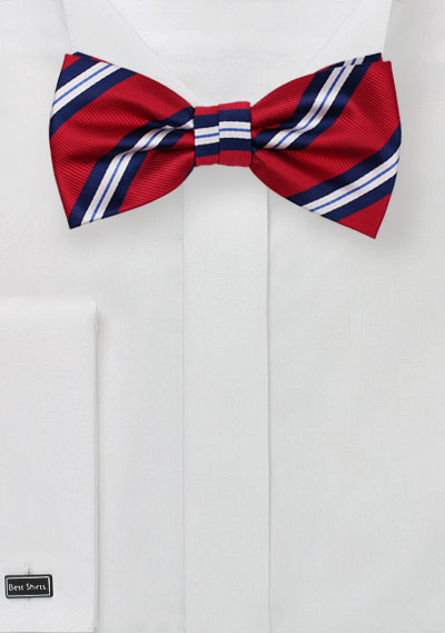 Preppy Striped Bow Tie in Red and Navy