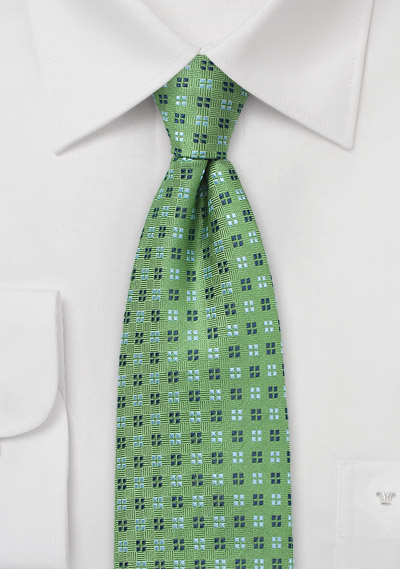 Amazon Green Tie with Blue Geometric Design