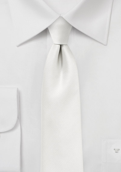 Slim Textured Silk Tie in Ivory