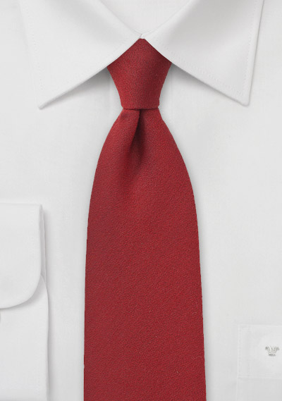 Mahogany Red Tie in Silk and Wool