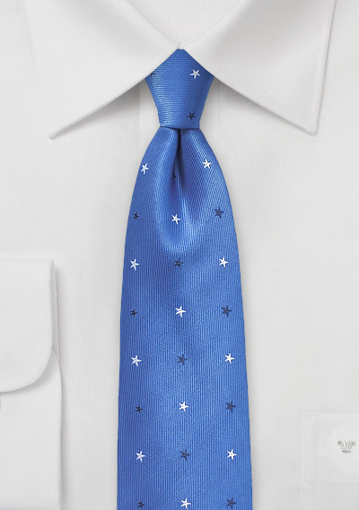 Blue Skinny Tie with Woven Stars