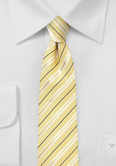 Skinny Striped Cotton Tie in Yellow