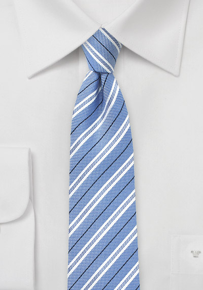 Soft Blue Skinny Tie in Cotton