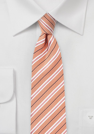 Cotton Skinny Tie in Nectarine