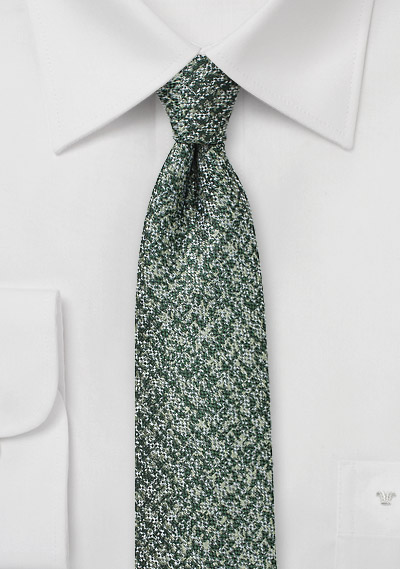 Tweed Textured Skinny Tie in Dark Green
