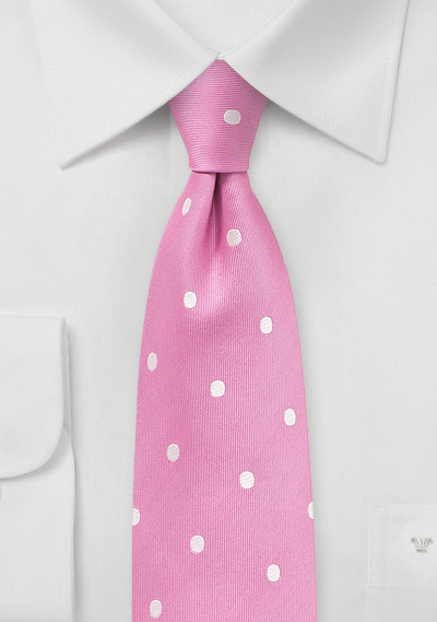 Silk Polka Dot Tie in Carnation Pink