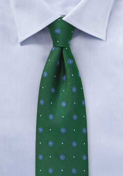 Floral Tie in Hunter Green and Light Blue