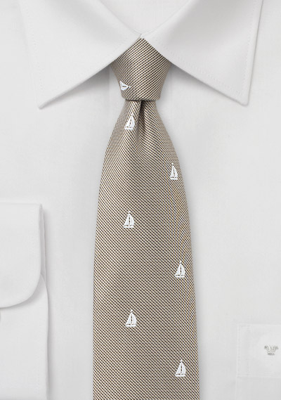 Nautical Sailboat Tie in Golden Wheat