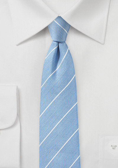 Powder Blue Skinny Linen Tie with Stripes