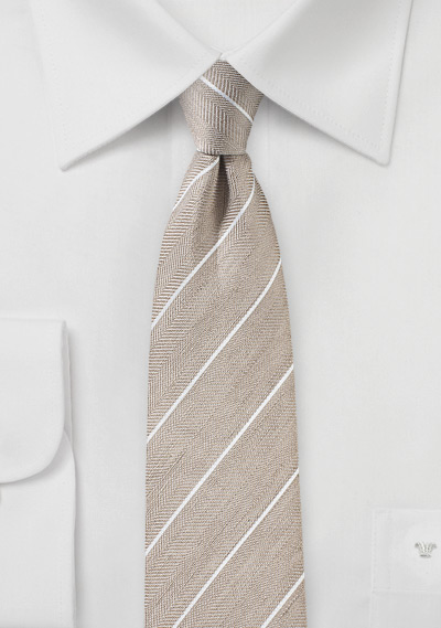 Slim Summer Striped Tie in Wheat