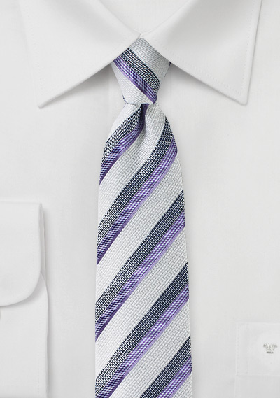 White, Gray, and Violet Striped Mens Tie