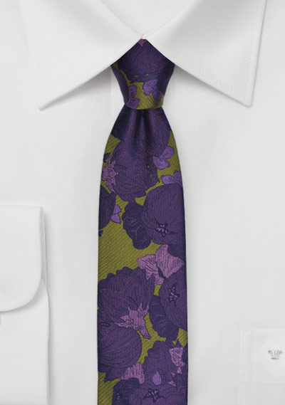 retro skinny floral tie in chartreuse and purple bows n ties com