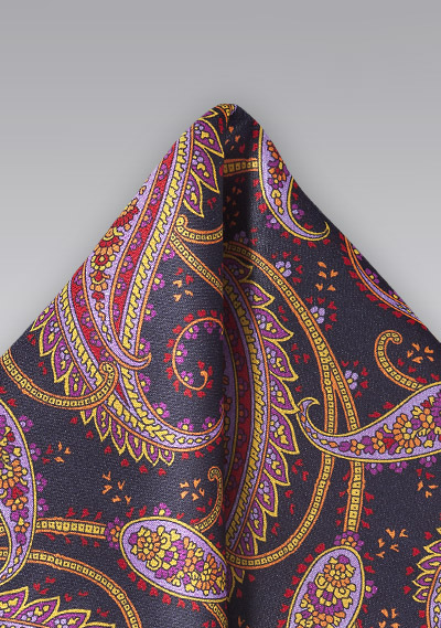 Paisley Patterned Handkerchief in Midnight Blue