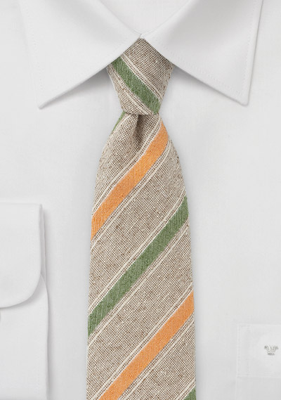 Vintage Skinny Tie in Tans, Oranges and Greens