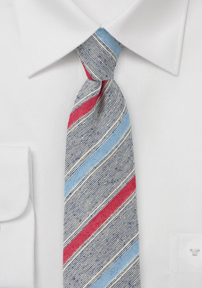 Textured Skinny Tie in Blues, Red and Tans