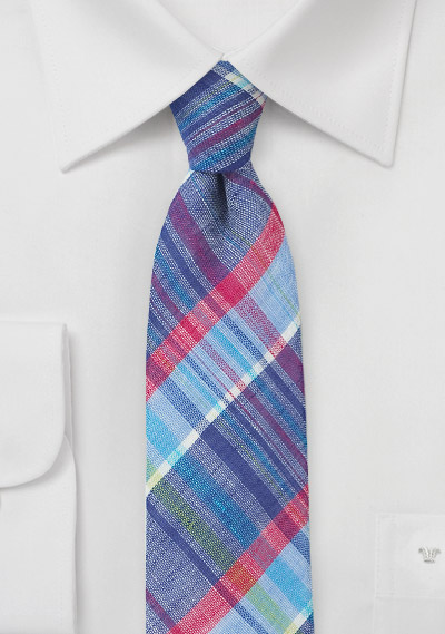 Trendy Skinny Madras Tie in Blue and Pink