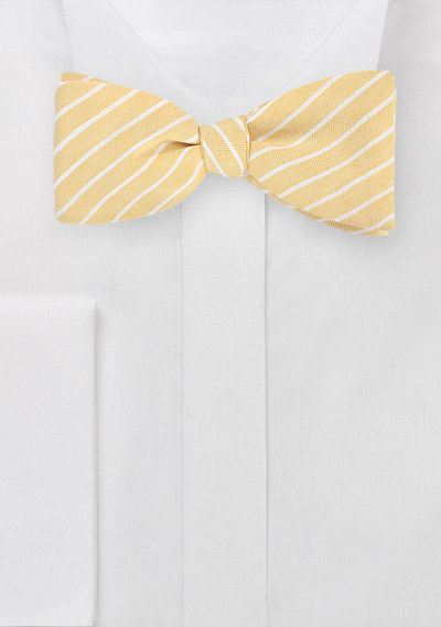 Linen Bow Tie in Butter Yellow