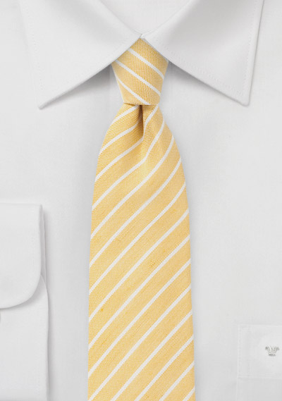 Trendy Skinny Linen Tie in Yellow