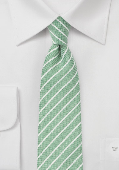 Skinny Linen Tie in Summer Green