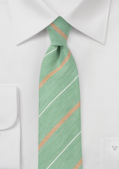 Textured Skinny Tie in Vintage Greens and Oranges