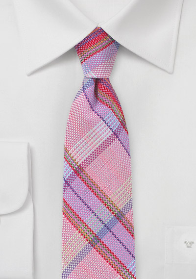 Madras Plaid Skinny Tie in Pink