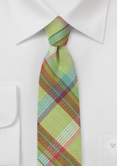 Madras Plaid Skinny Tie in Lime Green