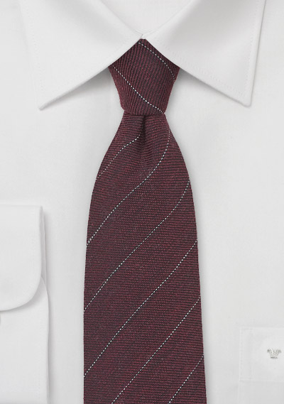 Pencil Striped Wool Tie in Port Red