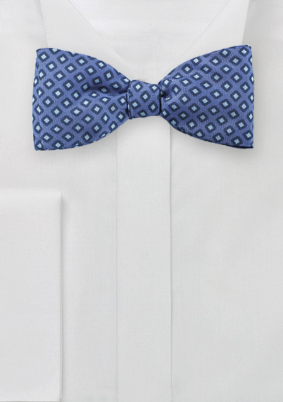 Geometric Diamond Check Bowtie in Blue