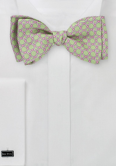 Art Deco Bow Tie in Limes and Pinks