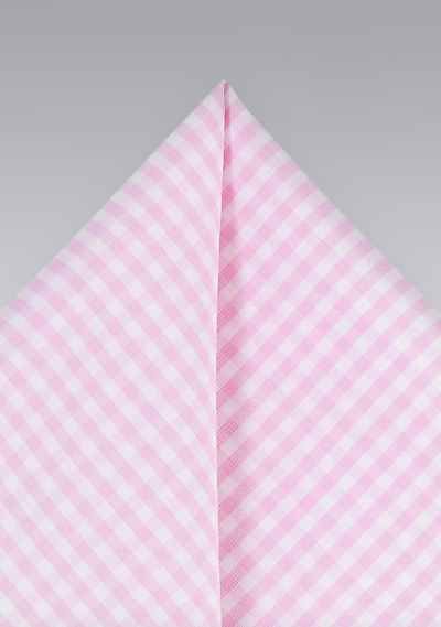 Summer Pink Gingham Pocket Square