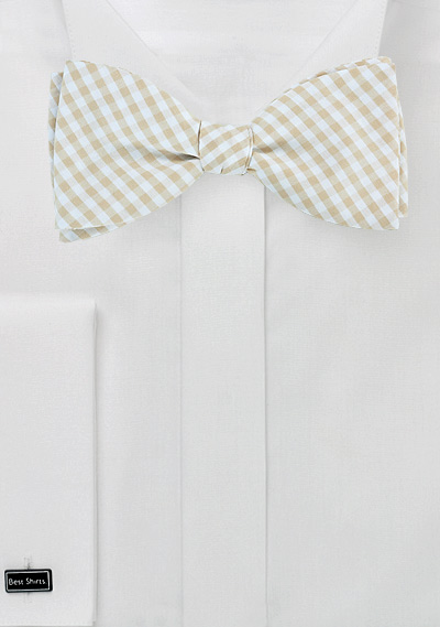 Summer Cotton Bow Tie in Beige and Tan