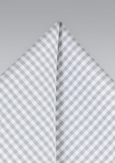Micro Check Cotton Pocket Square in Silver