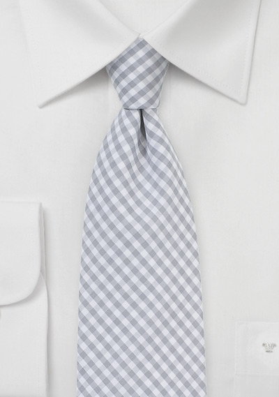 Cotton Gingham Tie in Silver and White