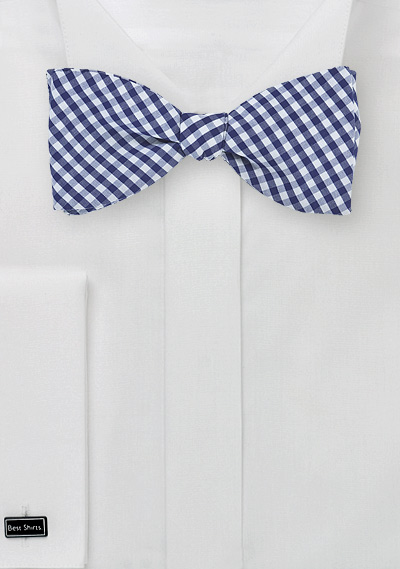 Navy Blue Gingham Bow Tie in Cotton