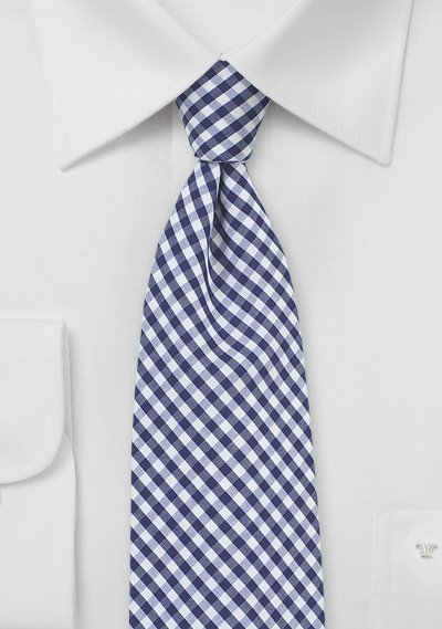 Cotton Gingham Tie in Navy and White