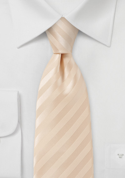 Solid White Peach Colored Tie with Satin Finish