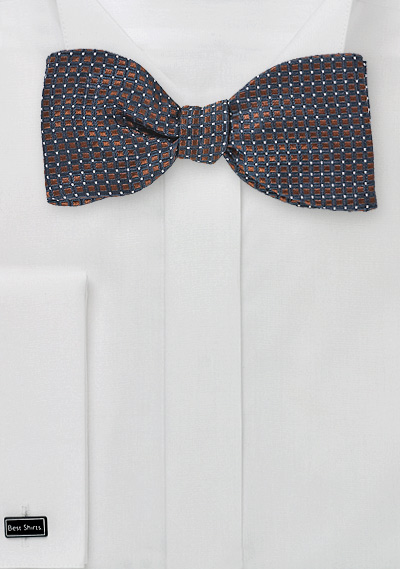 Bronze and Navy Bow Tie