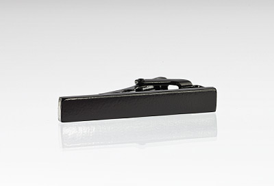 Trendy Narrow Tie Bar in Black