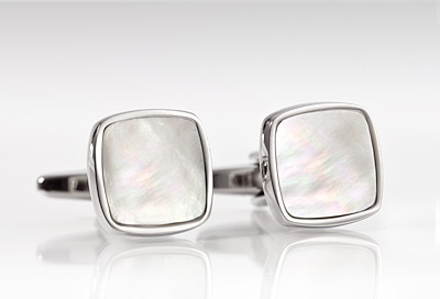 Silver and Mother of Pearl Cufflink Set