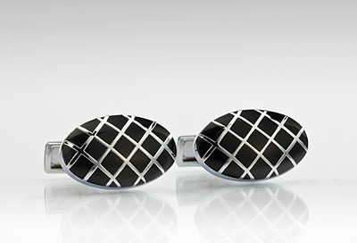 Checkered Design Cufflinks in Silver and Black