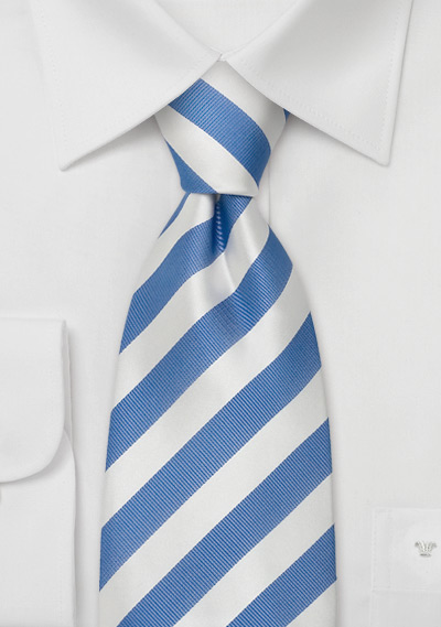 b13a0890 Striped Silk Tie in Sky-Blue and White | Bows-N-Ties.com