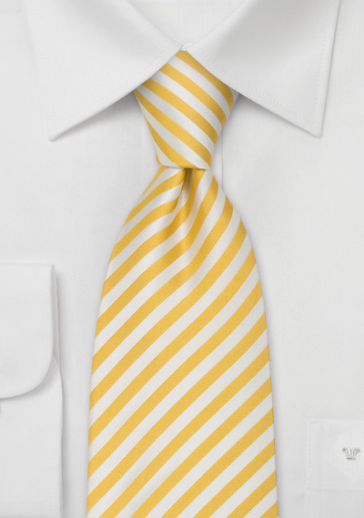 Yellow Silk Tie in Lemon and Vanilla Stripe