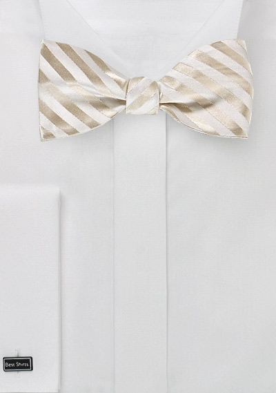 Ivory Striped Silk Bow Tie in Self-Tie Style