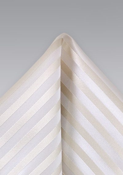 Formal Striped Pocket Square in Ivory