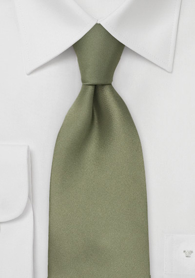 Solid Color Tie In Dark Sage Green