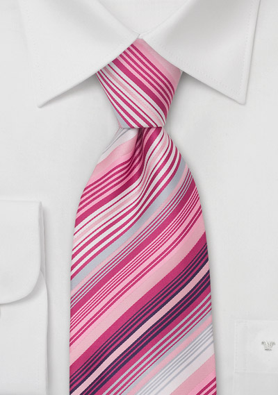 Modern Striped Tie In Pink Magenta And Gray